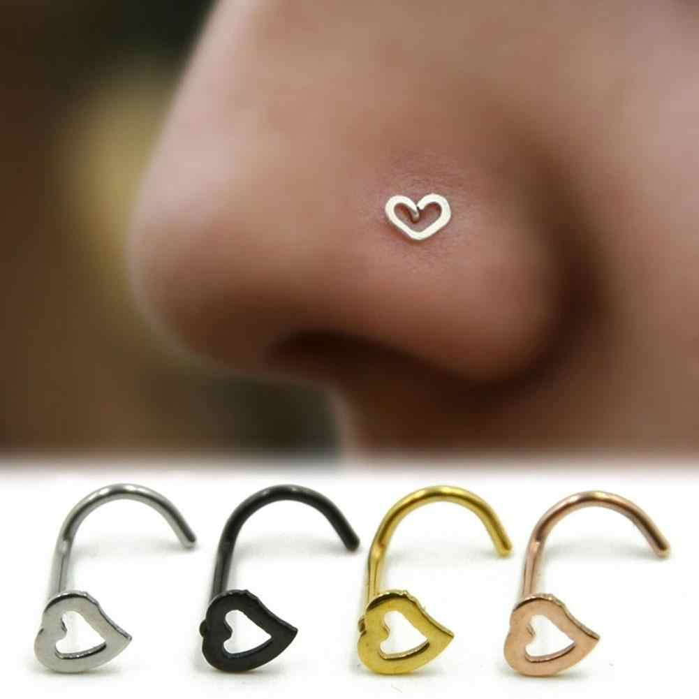 1pc Heart Stainless Steel Nose Ring & Studs Fashion Girl Body Jewelry Stainless Steel Nose Piercing Punk Party Jewelry