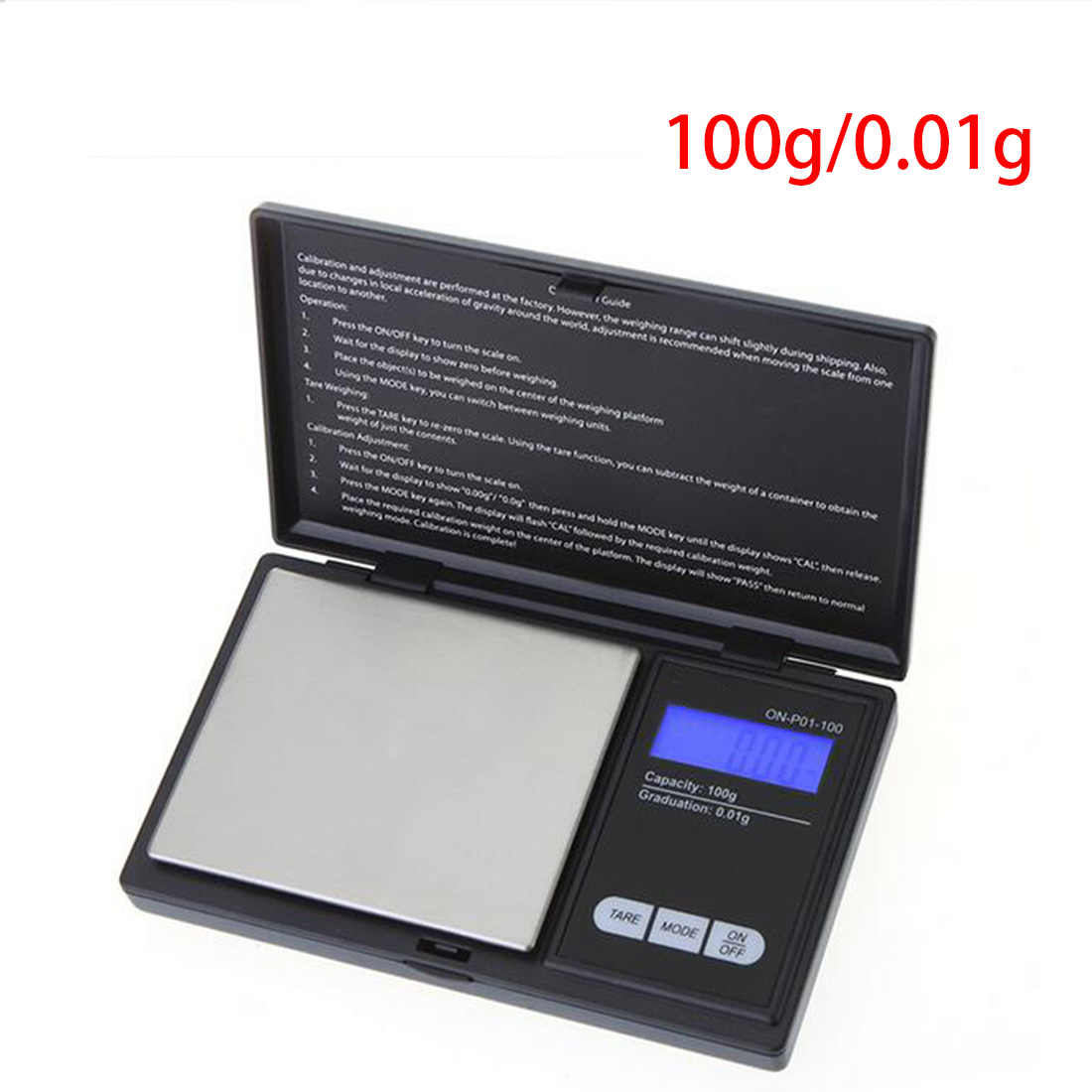 100g/200g x 0.01g Digital Scales Mini Portable Precision Reloading Powder Grain Jewelry Carat Black With Three Weighing Modes