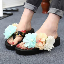 Bohemian Summer explosion models female flowers slippers flat sandals heavy-bottomed sandals and slippers fashion wholesale W110