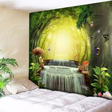 Butterfly Hippie Decorative Tapestry Wall Hanging Tree Hole Waterfall Bohemian Wall Tapestry Art Carpets Couch Blanket Cloth HOT fire and water butterfly pattern wall art tapestry