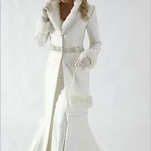 Hot Sale 2017 New White Winter High Quality Wedding Dress Cloak Chapel Train Satin Long Sleeve