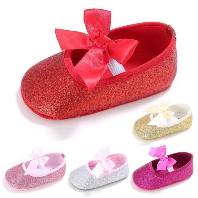 Nieuwe bling metallic Zoete boog prinses schoenen Herfst Pasgeboren baby baby meisjes schoenen Zachte zool 5 kleuren dansen schoenen