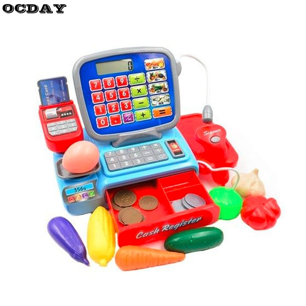 Children Cash Register Supermarket ElectronicToys with Food Basket Scales Learning Education Pretend Play Set for Kids Hot Sale