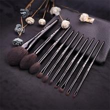 Professional 10Pcs Makeup Brushes Set Black Natural Goat Hair Powder Blush Brush Eyeshadow Blending Cosmetic Brush