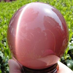 ААА + + Горячая продажа Азиатский Кварц Розовый Кристалл кошачий глаз шаровая СФЕРА 60 мм + подставка