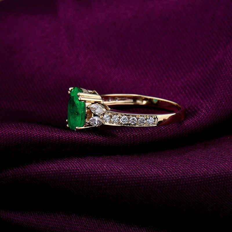 ใหม่รูปไข่ 7x9 มม. เพชรธรรมชาติสีเขียวมรกตงานแต่งงาน 14 k สีเหลืองทองแหวนออกแบบเครื่องประดับสำหรับแฟน SR174