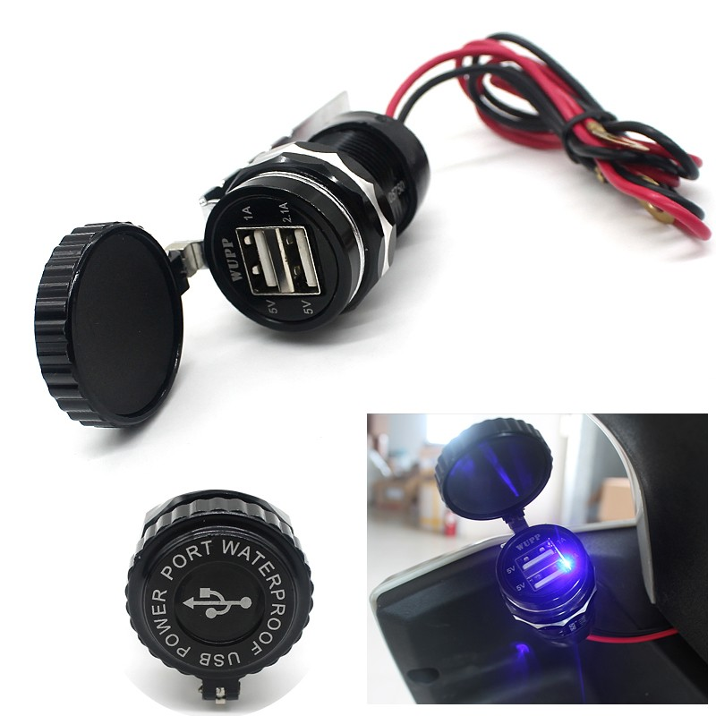Portable Waterproof Aluminum Alloy Body Car Auto Motorcycle Scooter 3.1A Dual USB Power Supply Socket Charger Adapter