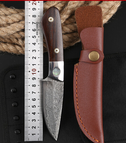 все цены на Outdoor Tactical Fixed Knives High-carbon steel Damascus pattern Knife Handmade camping Hunting Knife EDC tools Free shipping