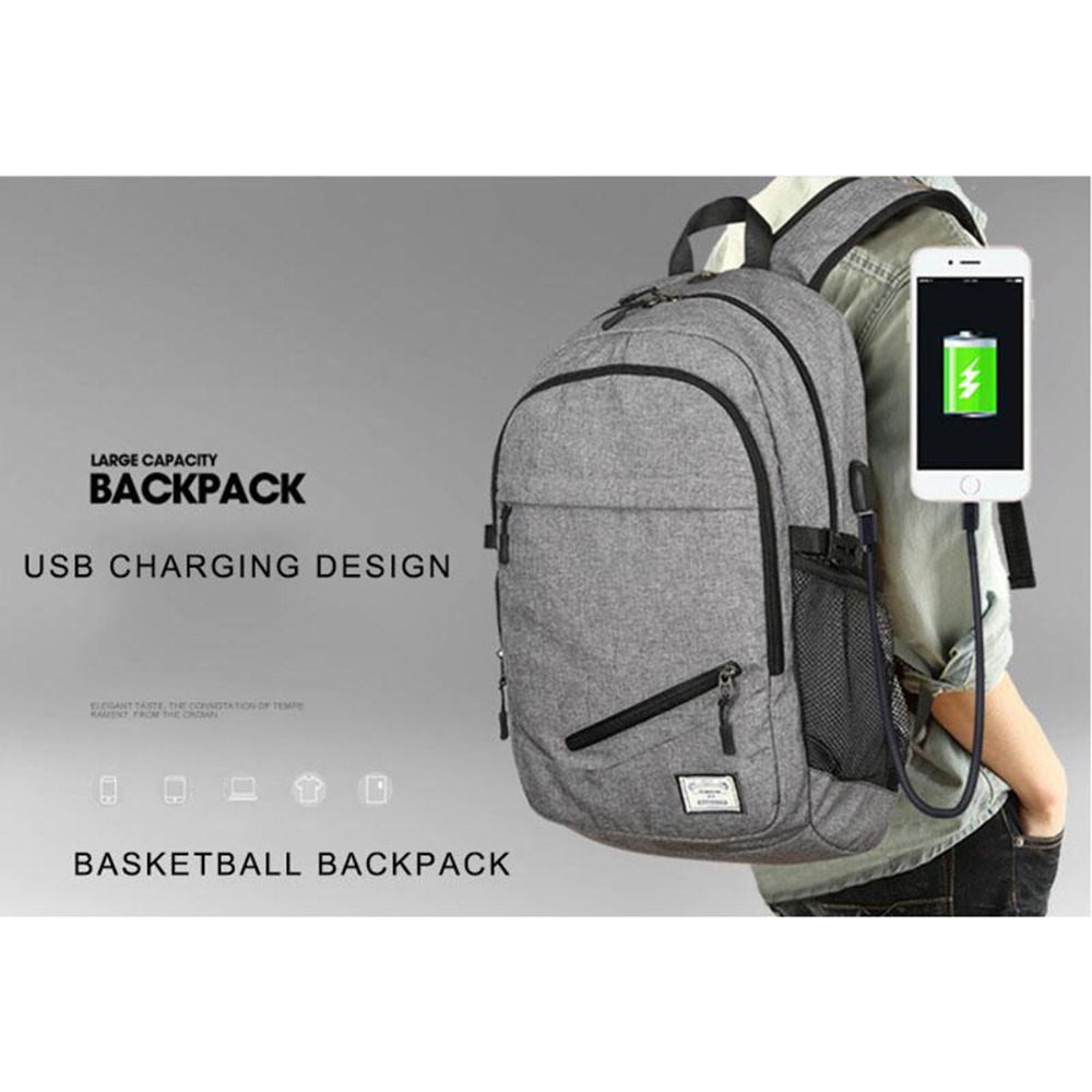 Daddy Chen Basketball Backpack With the USB Cable Outdoor Bags Gray Black Canvas 30*15*48cm Sport Bag unisex Entertainment