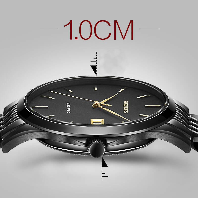 RIQINES new ultra-thin mechanical watch male watch men's automatic mechanical watch waterproof business leisure watch the new genuine automatic mechanical male watch belt men s watches male waterproof fashion business leisure watch