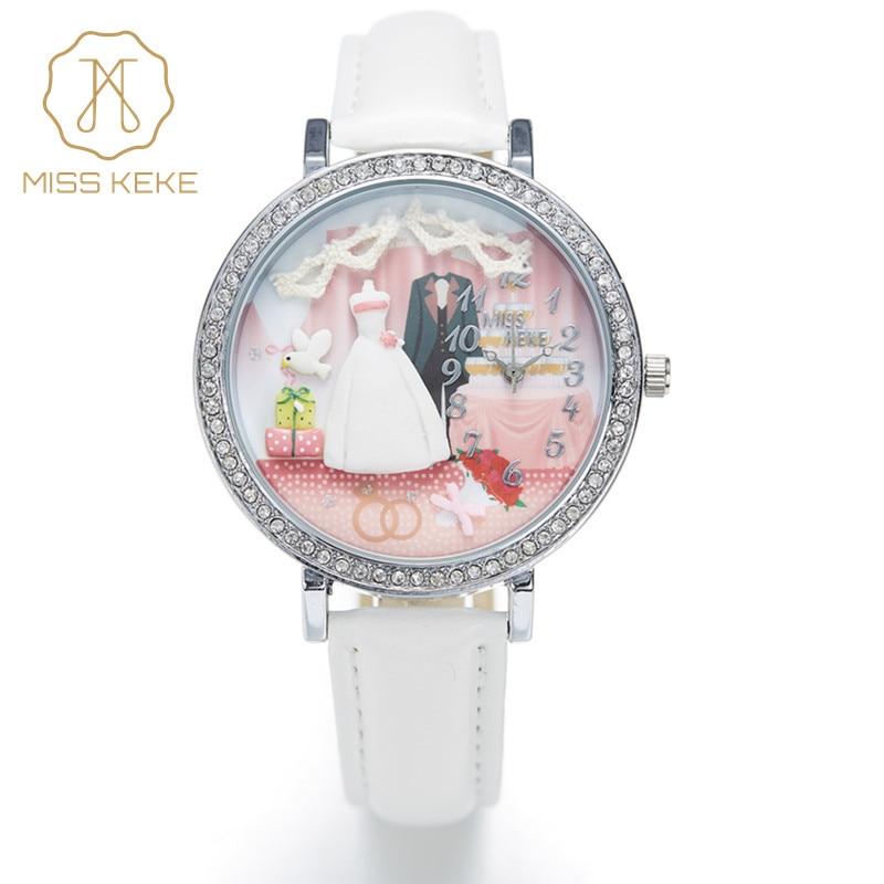 Miss Keke New 3d Clay Wedding Bride Groom Gift Rhinestone Women Dress Watches Ladies Fashion Leather Wristwatches White 1047