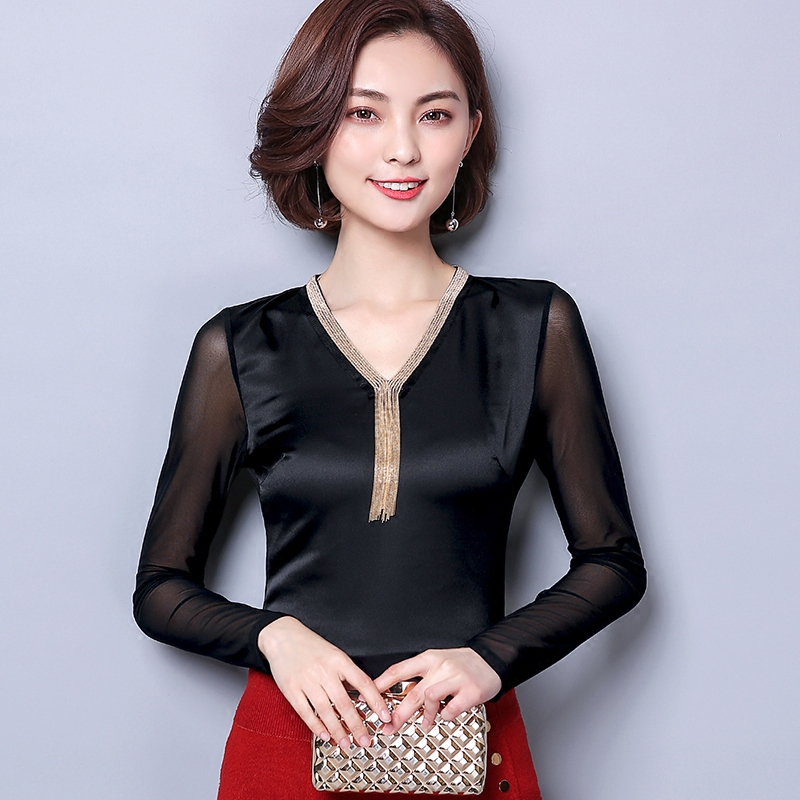 2018 New Spring Women   Shirts   Solid Slim Simulation Silk Satin   Blouse     Shirt   Pink Black 9509