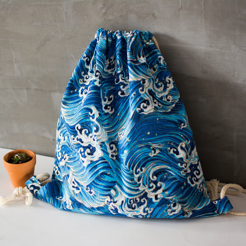 Yile Cotton Linen Drawstring Travel Backpack Shoes Sorted Bag Student Book Bag Blue Sea Wave Spray 17414-2