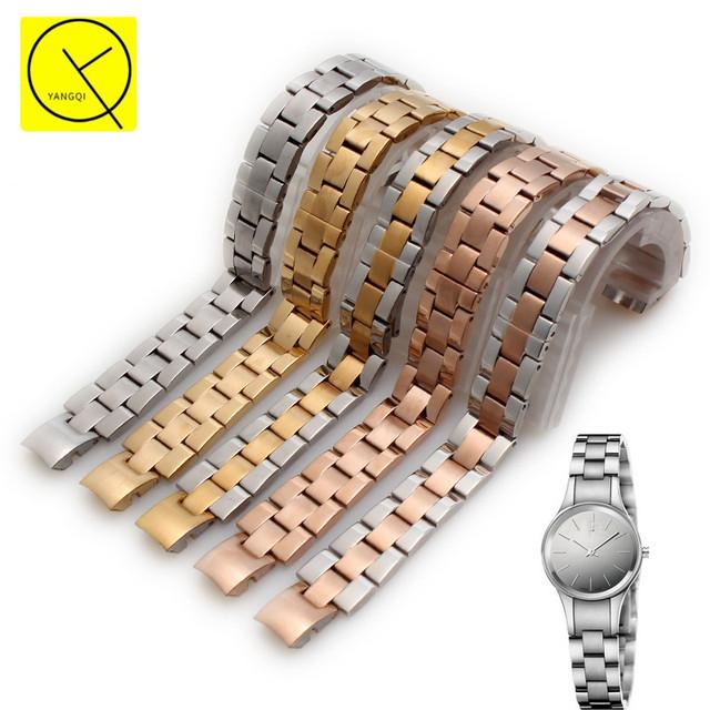 Stainless Steel WatchBand Accessory for CK Calvin Klein Women Watches Watchstrap Bracelets Belt K4323130/K4323185/K4323148+Tools