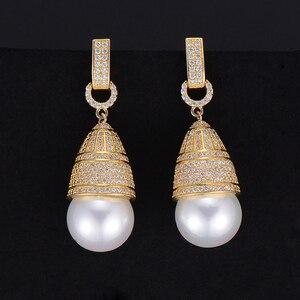 Image 2 - GODKI 45mm luxe Imitation perle cubique zircone CZ fiançailles femmes fête de mariage discothèque Statment boucle doreille