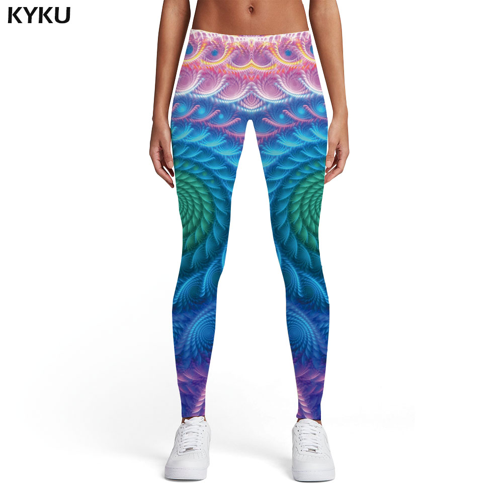 KYKU Brand Psychedelic Leggings Women Dizziness Spandex Colorful Ladies Gothic Printed Pants Abstract Sexy Womens Leggings Pants