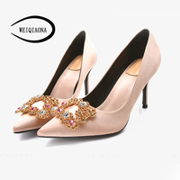 WEIQIAONA 2018 Fashion Silk Vintage Women Shoes Brand Design Luxury Crystal Pionted Toe Wedding Shoes High Heels Ladies Shoes