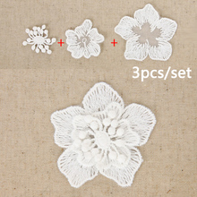 2017 Hot DIY Lace embroidery Plum 100% cotton aesthetic flower white 3psc to a full accessorials (60 piece / Lot)