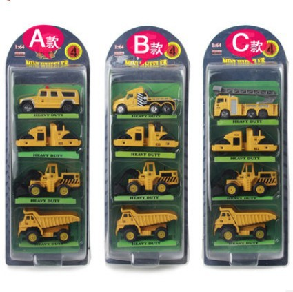 4pcs Lot Construction Toys Kids Engineering Car Toy Small Car Set