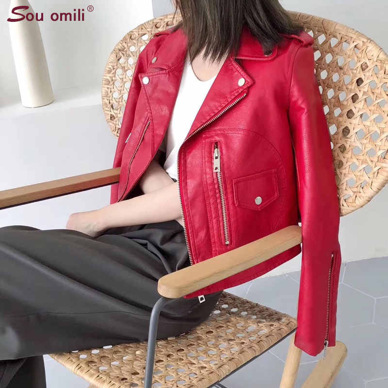 RED Big Pocket Leather Jackets Faux Leather Jacket for Women's Fashion Outerwear Jacket Supernova Jaqueta Couro