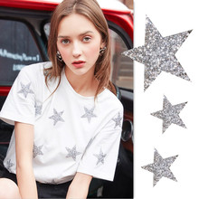 1pcs Multiple Sizes 3color Crystal Rhinestone Star Patches for Clothing Iron on Clothes Appliques Badge Stripes Diamond Stickers