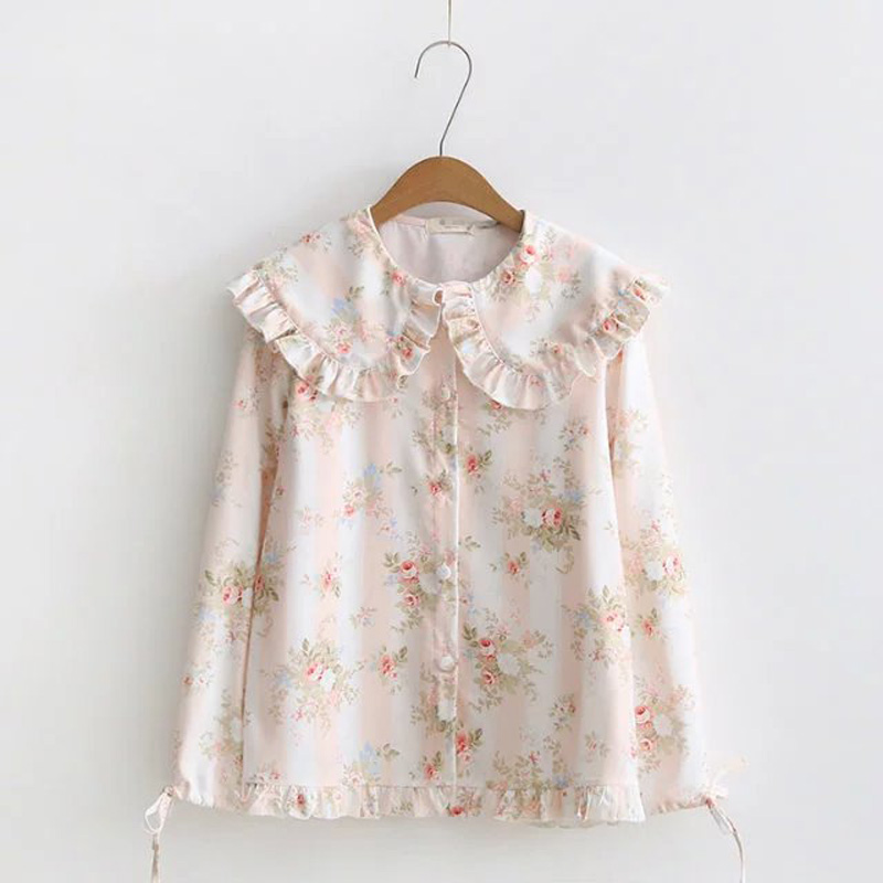 WXCTEAM Casual Women Blouse Vintage Mori Girl Floral Flower Print Shirt Peter Pan Collar Female Lolita Harajuku Chiffon Blouse