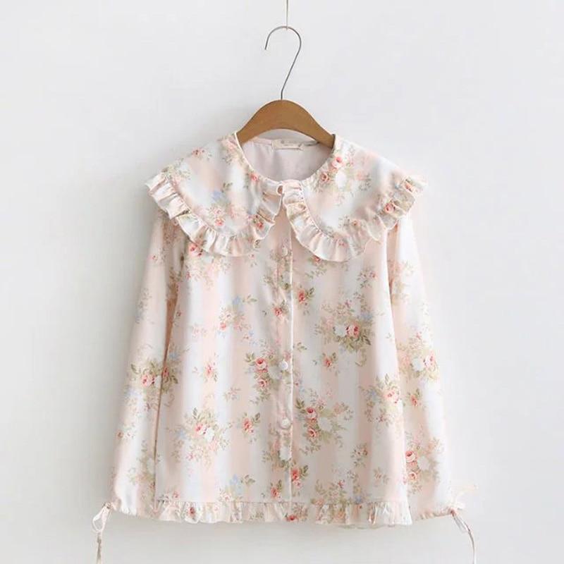 WXCTEAM Casual Women Blouse Vintage Mori Girl Floral Flower Print Shirt Peter Pan Collar Female Lolita Harajuku Chiffon Blouse