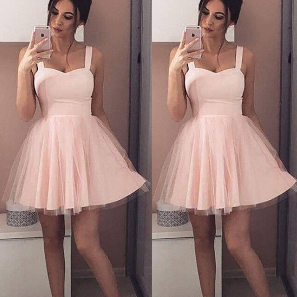2019 Summer New Women Strap Sleeveless Evening Party Tulle Dress Short Mini Dress Elegant Female Solid Ball Gown Short Dresses