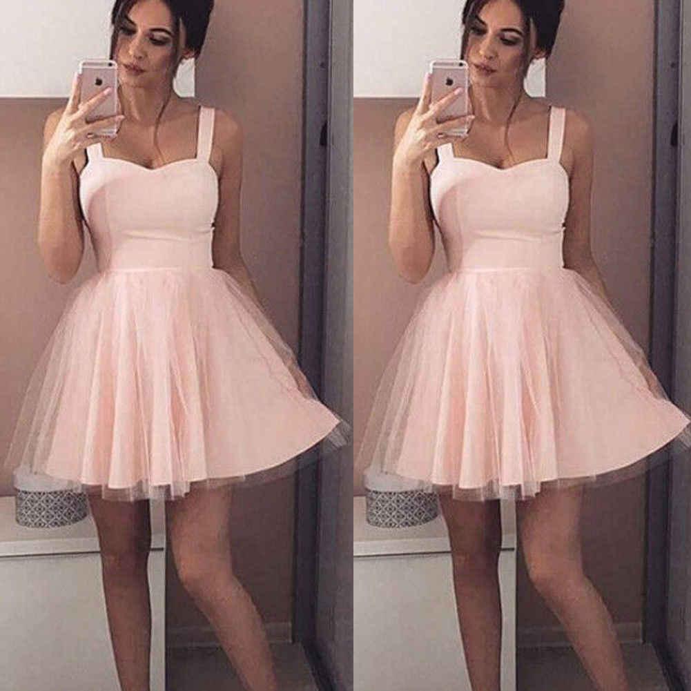 2019 été nouveau femmes sangle sans manches soirée partie tulle robe courte Mini robe élégante femme solide robe de bal robes courtes