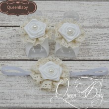 Retail ! Baby Barefoot Sandals With Satin Rosette and Pearl Matching Baby Headband Luxe Barefoot Luxe Headband barefoot over stones