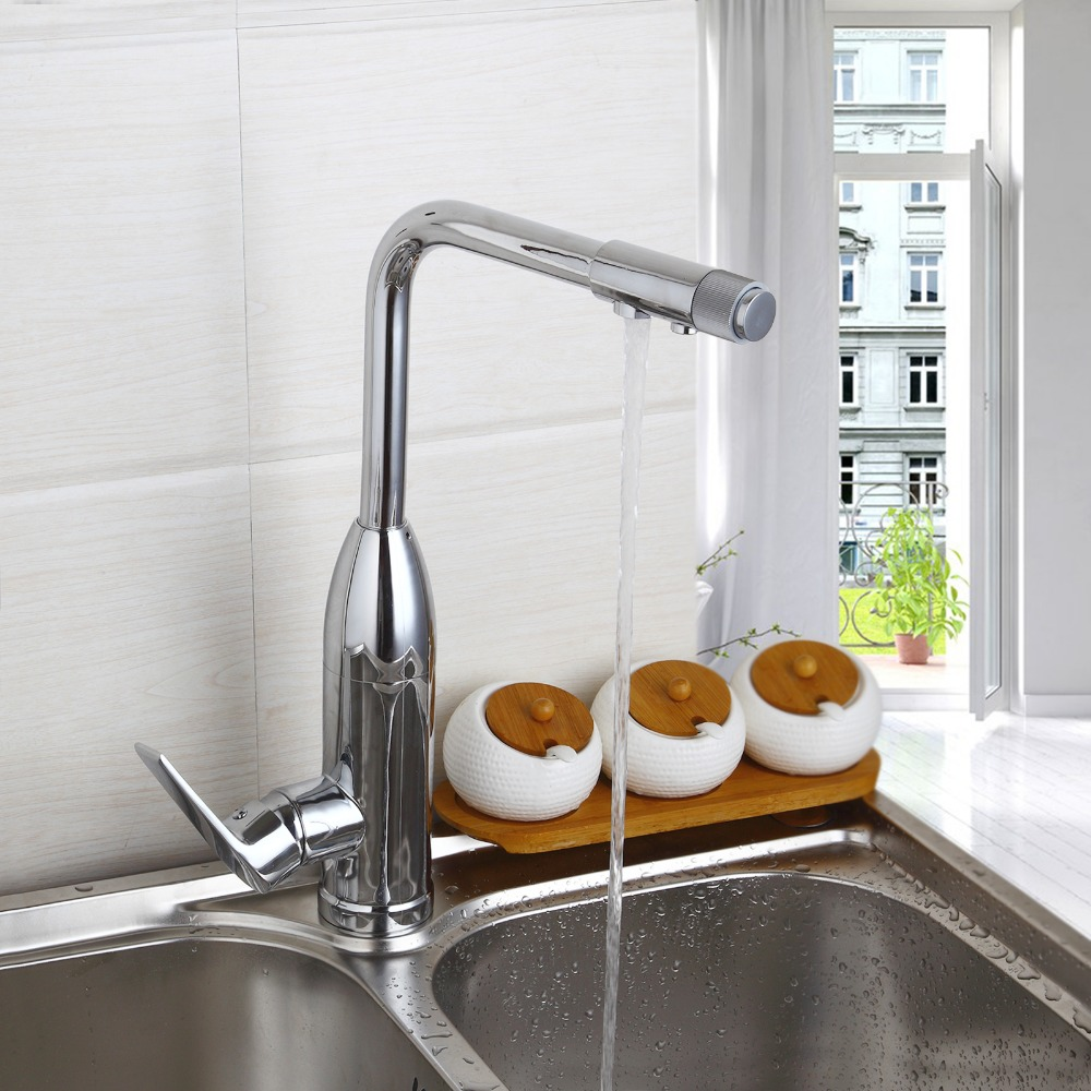 Polished Chrome Brass Kitchen Faucet Single Handle Water purifier Hot and Cold Water Mixer Tap Deck Mounted Torneira De Cozinha jooe kitchen faucet chrome single cold water tap deck mounted kitchen sink faucet torneira de cozinha robinet cuisine banheiro