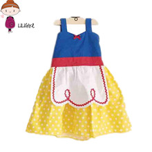 Cinderella Girl Dress 2017 New Brand Designer Child Party Princess Clothing 100% Cotton Sleeveless Dresses Snow White 2-7Y