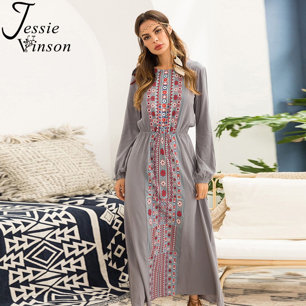 8bd8408da99 Online Shop Jessie Vinson Bohemian Print Long Sleeve Long Dress Elegant Plus  Size Maxi Dress Boho Dresses for Women Female Elastic Waist
