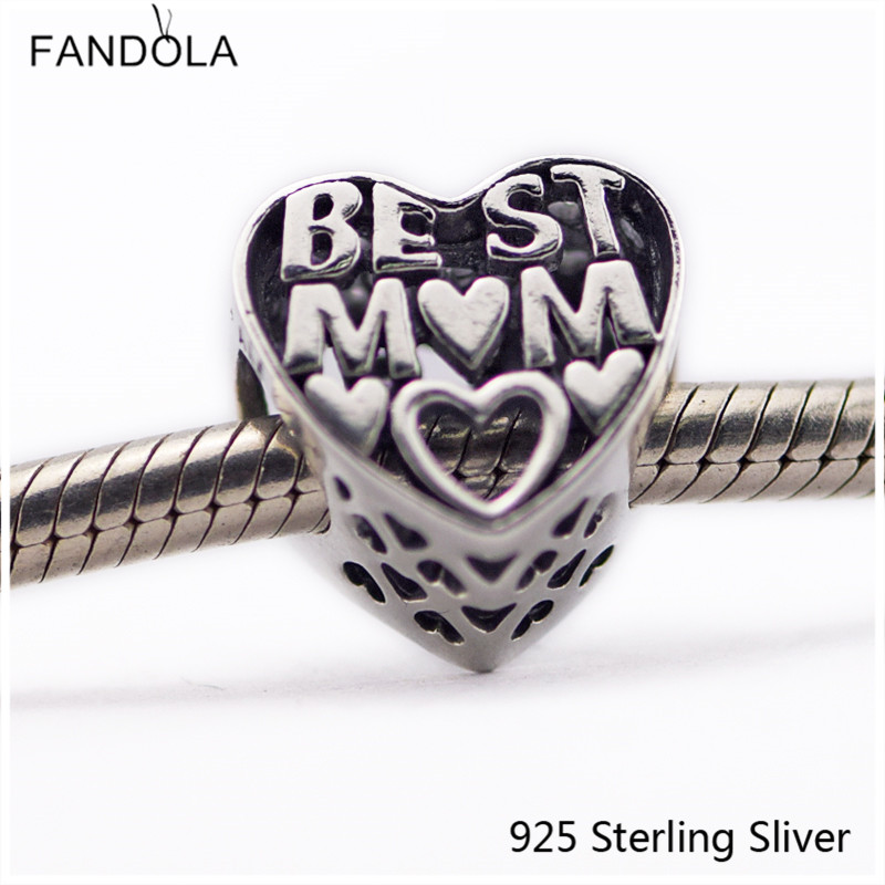 faa7e61550a4 Original Plata de Ley 925 mejor encanto de corazón de mamá Fit Pandora  pulseras dijes cuentas ...
