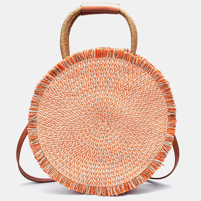 New Color Leather Handle Shoulder Bag Ins Retro Casual Portable Round Straw Bag Hand-woven Bag