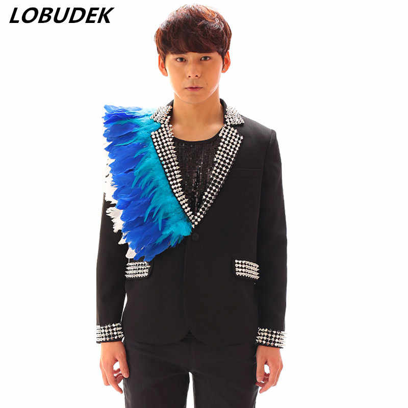 黒、白、男性のスーツファッションブレザー羽リベット装飾スリムパンツ 2 ピースセットバーパンク男性歌手ホスト衣装