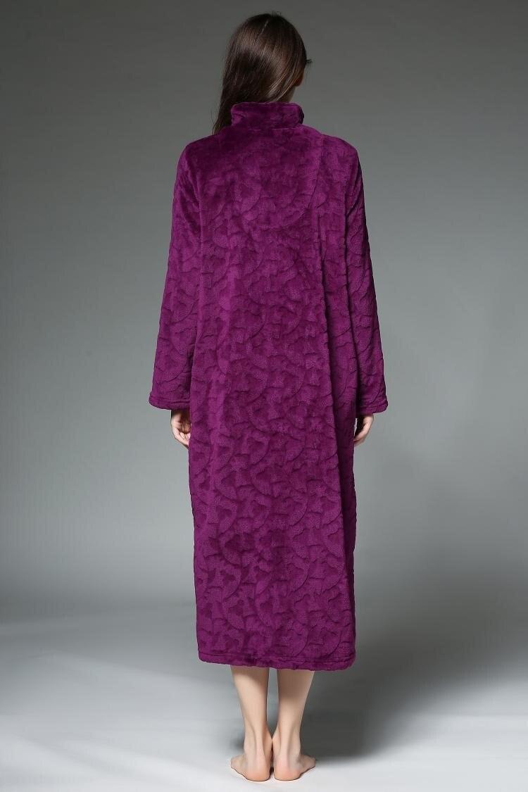 Invierno ama albornoces de algodón batas para mujeres cremallera de ...