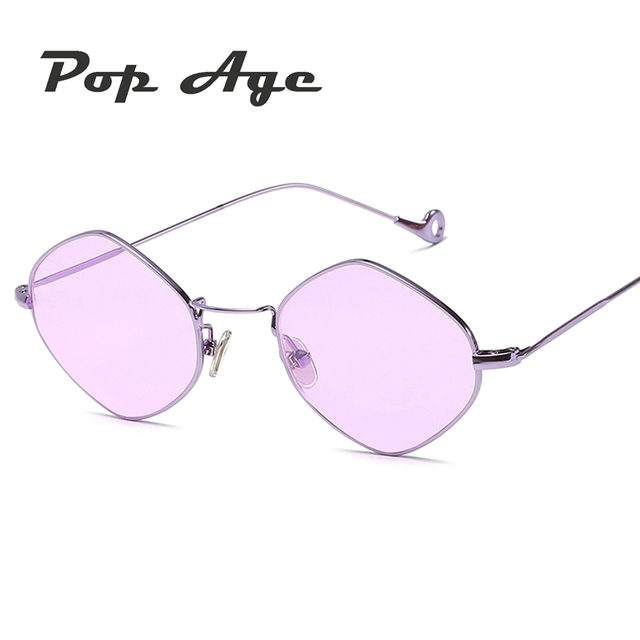 27e393f30cc5ae Pop leeftijd new blauw roze paars vintage polygon zonnebril vrouwen mannen  Kleine Frame Merk designer zonnebril