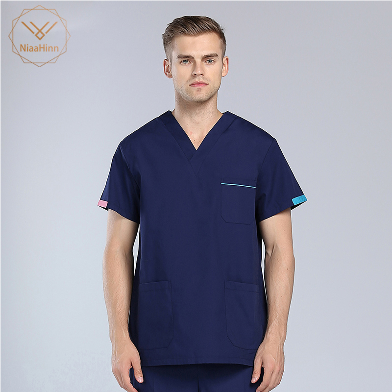 New Blue Coat Nursing Uniform Scrubs High Quality Beauty Salon Sets Spa Uniform Men&women Medical Surgical Cotton Pharmacy Sets