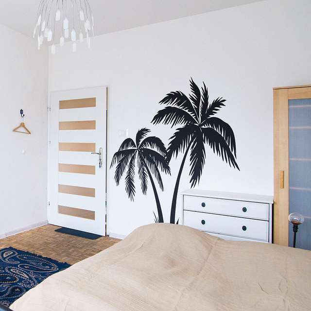 Large Palm Tree Wall Sticker Bedroom Nursery Summer Surfer Surfing Wave Ocean Beach Decal Kids