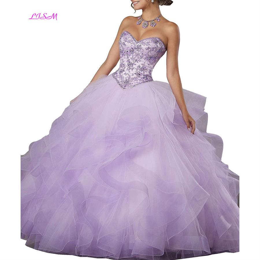 Crystals Organza Quinceanera Dresses 2019 Beaded Cascading Ruffles Ball Gown Sweet 16 Prom Dress Vestidos De 15 Anos robe de bal