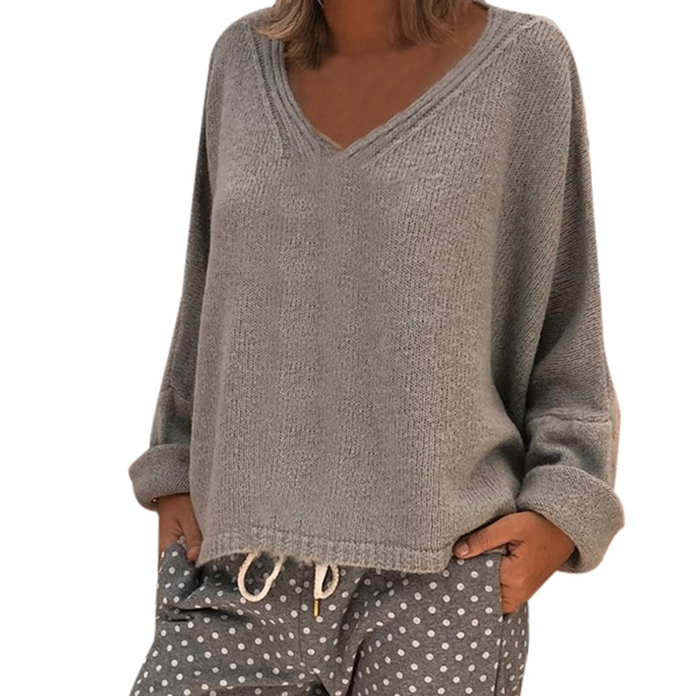 Mujeres Cuello Pullovers green Sólido Otoño Mujer Black Tops Jumpers  Sweaters Suéter Color gray Knit Basic ... 3c492eb7e125
