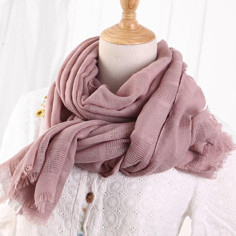 2018 Spring Women Cotton Linen Ethic Hollow Cut Scarf Fringes Large Wraps Stoles Pashmina Muslim Hijabs Scarves 190x90cm