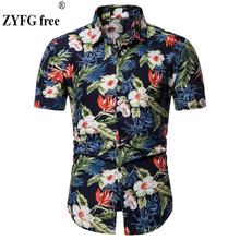 ZYFG free men shirt flower print simple short-sleeved shirts flower shirt elegant fashion spring and summer male clothing flower print shirt