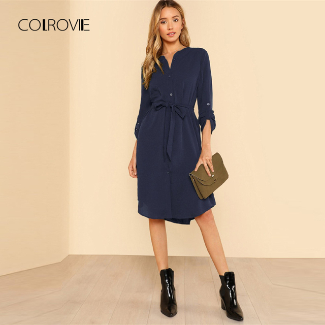 e7f33dc1513 COLROVIE Navy Solid Workwear Roll Tab Sleeve Belted Shirt Dress Women 2018  Autumn Shift Button Office Lady Basic Dresses