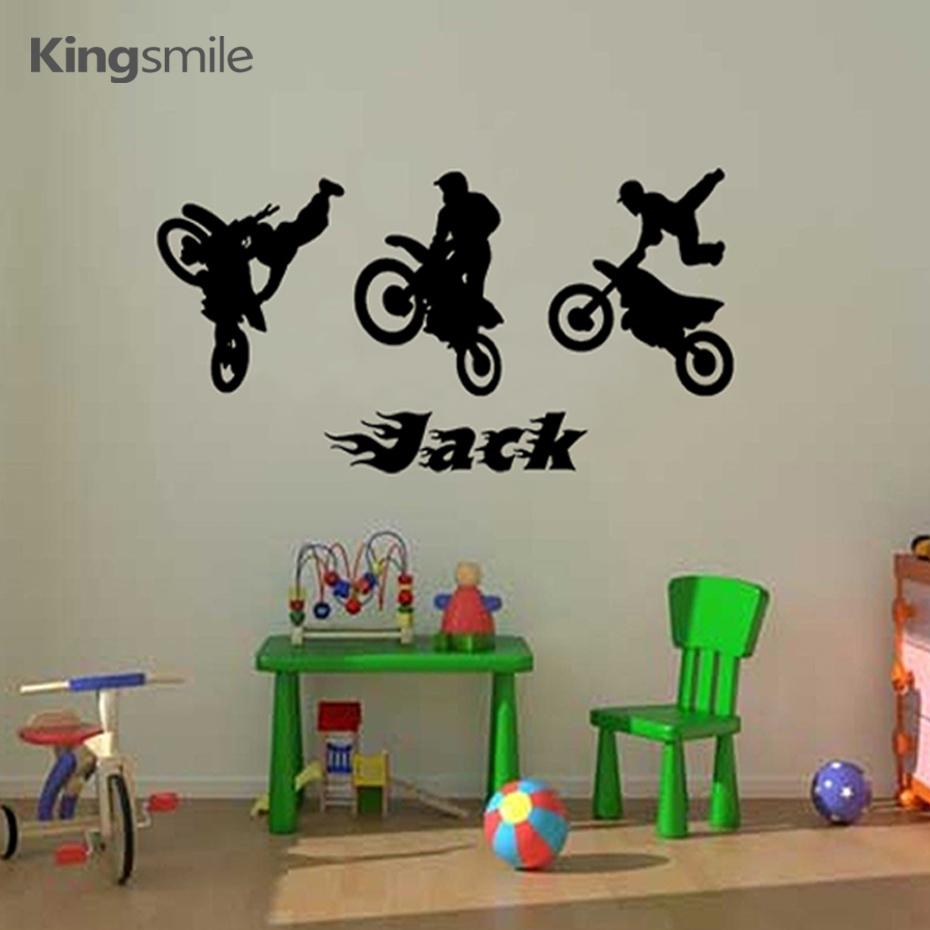 Modern Motorcycle Motocross Trio Of Bikes Wall Stickers
