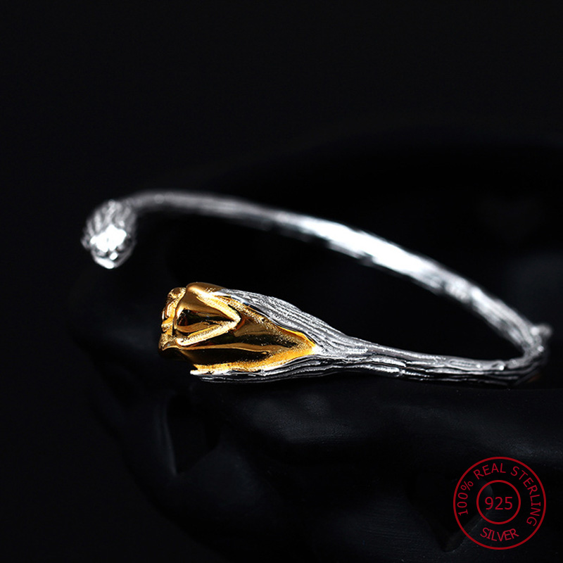 925 Sterling Silver Bracelet Women Original Flower Bangles Wristband Beads Natural Stone Jade Bracelet Wedding Fine Jewelry YB6