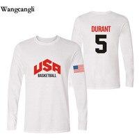 Wangcangli Star Basketball Men Long Sleeve T Shirt O Neck Printed USA Basketball Star With Long
