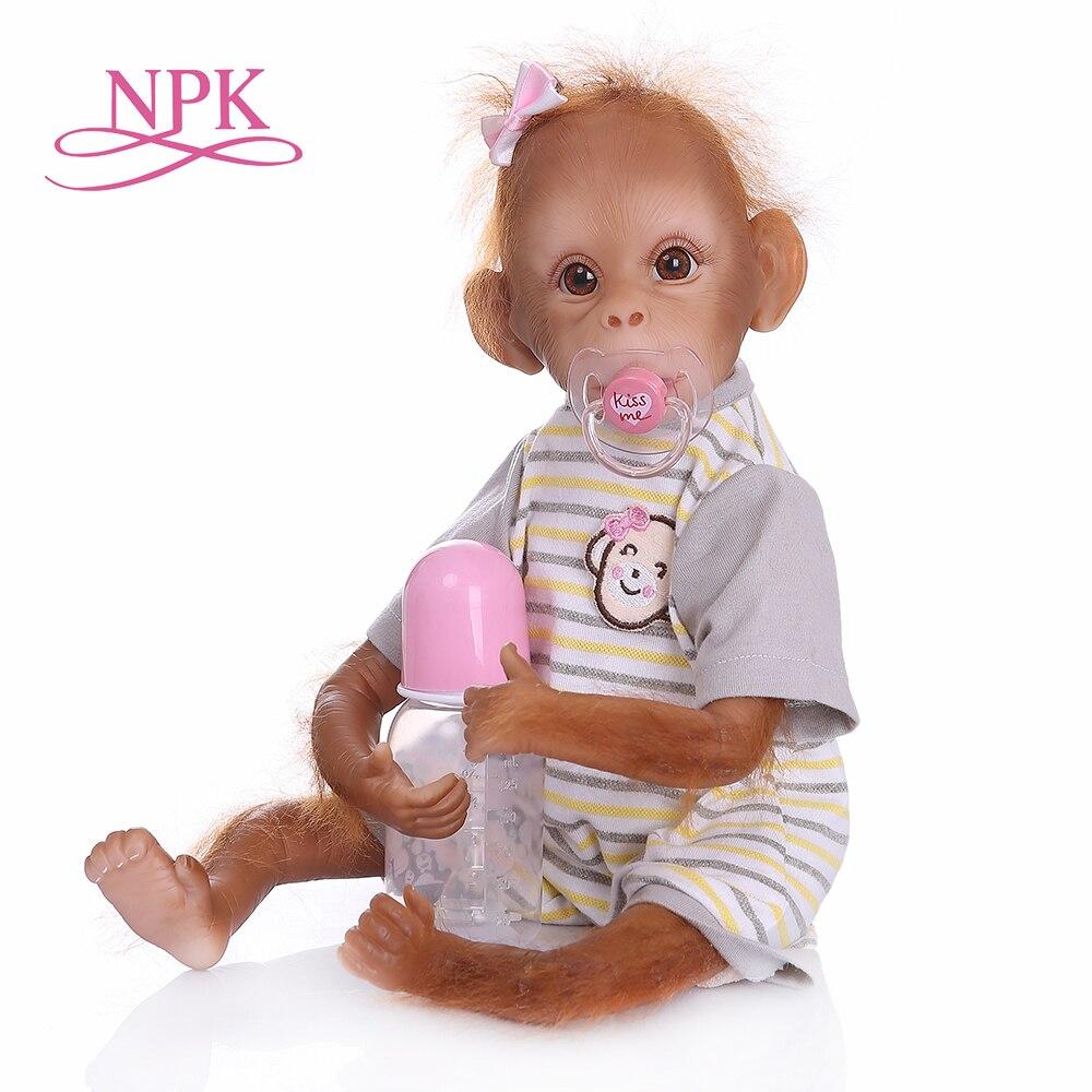 ใหม่ 45 ซม. ทำด้วยมือรายละเอียดภาพวาด reborn เด็กลิง orangutans คุณภาพสูงสะสม art ตุ๊กตา-ใน ตุ๊กตา จาก ของเล่นและงานอดิเรก บน   1