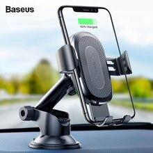 Suporte para Carro Qi Carregador Sem Fio para o iphone X 8 Baseus Samsung S9 Sucção Sem Fio de Carregamento Rápido Carregador de Carro Montar Telefone titular